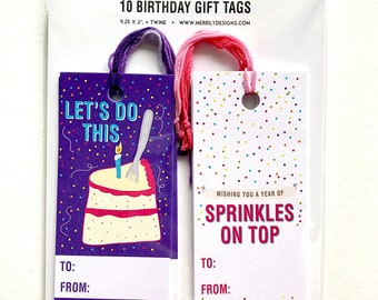 Birthday Gift tags, Pink and purple Colourful Design, Gift wrapping tags, fun gift wrapping ideas, ten tags, two designs