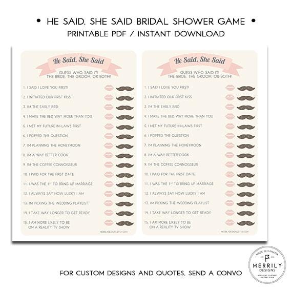 Bridal Shower Game He Said She Said Bride Or Groom Game