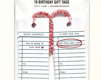 Birthday Gift tags, Funny gift tag with Library Card  Style Design, Gift wrapping tags, fun gift wrapping ideas, ten tags, two designs