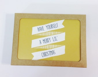 Christmas Cards, Small, Have Yourself a Merry Lil' Christmas  with Kraft Envelopes, Happy, Cheerful, Modern Cards