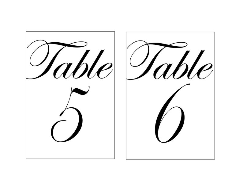 picture relating to Printable Table Numbers named 4x6\