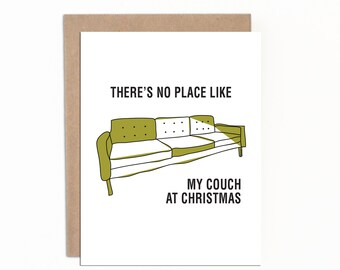 Funny Christmas Card   There's No Place Like My Couch at Christmas   Funny Holiday Card   Individual Christmas Card with Kraft Envelopes