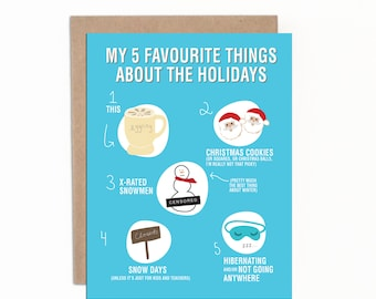 Funny Holiday Card   My 5 Favourite Things About the Holidays   Christmas Card   Individual Christmas Card with Kraft Envelopes