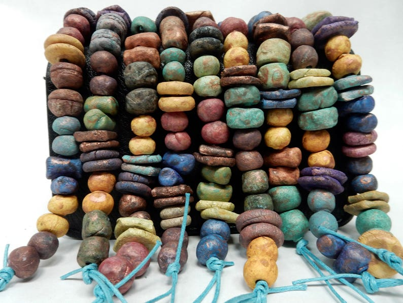 22 Assorted stoneware clay beads appropriate for earrings BEST image 0