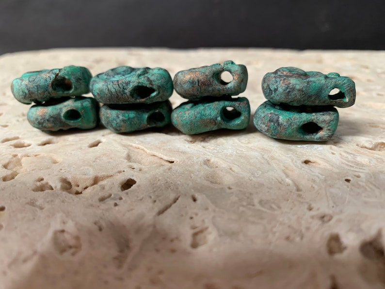 earthy  tribal primitive stoneware clay #13476 black wabi sabi. rustic 8 bead drops small pendants turquoise \u2026copper patina..