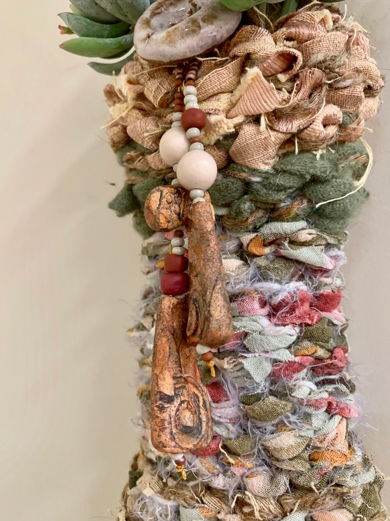 Earth tones At Home InTaos button and beads #11529 Rag Wall basket made with recycled fabric novelty yarns