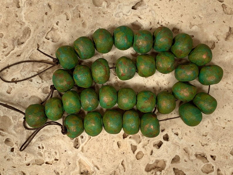 turquoise 16 Hand made large round stoneware clay beads with a green 2mm hole yellow earthy\u2026.# 9460 primitive. rustic. copper patina