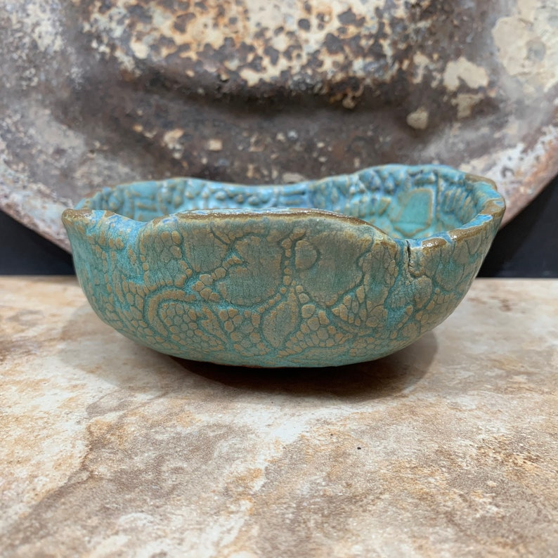 Berry Bowl in Teal  Turquoise and Cream Stoneware Pottery Ceramic Colander