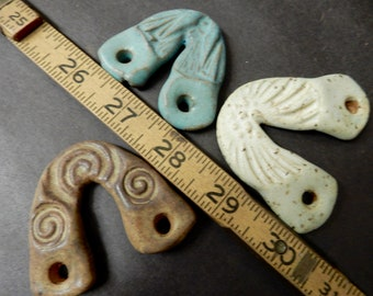3 Wall Art Hangers made with stoneware clay, fiber art hanger, basket hanger, assemblage art hanger #6581