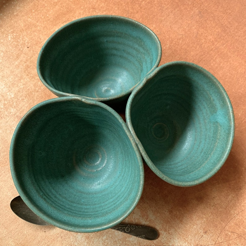 stoneware pottery clay appitizer turquoise glaze boho primitive,#9477 salsa bowl Hand thrown Tri condiment earthy rustic wabi sabi