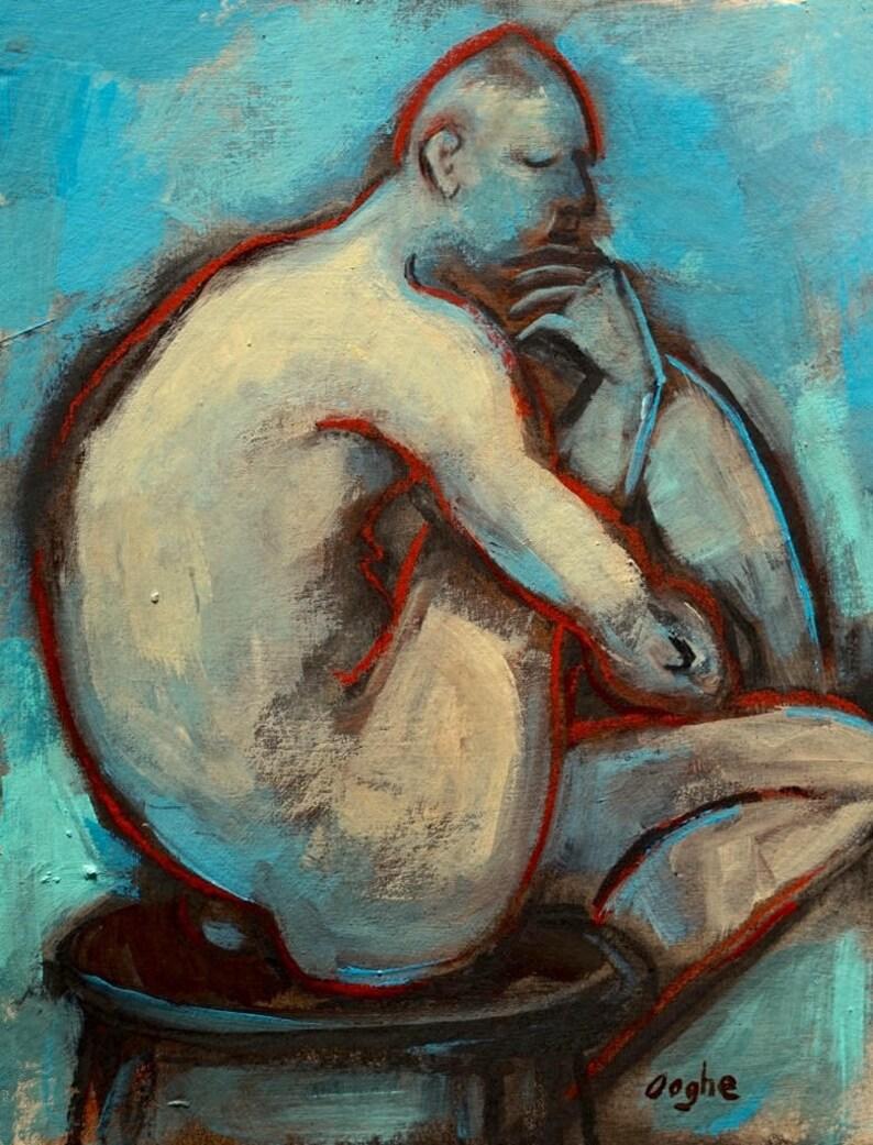 Study in Orange & Red original oil painting nude woman