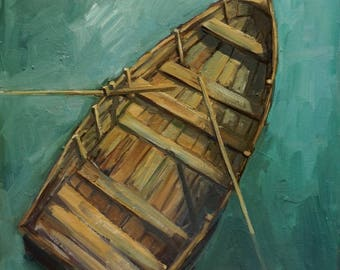 Original Oil Painting-Rowboat-Wooden Boat-Impressionism-Boat-Dinghy-Fishermen-Marina-Dinghy Dock-Seascape-Lake-Pond-Ocean-Drifting Boat-Art