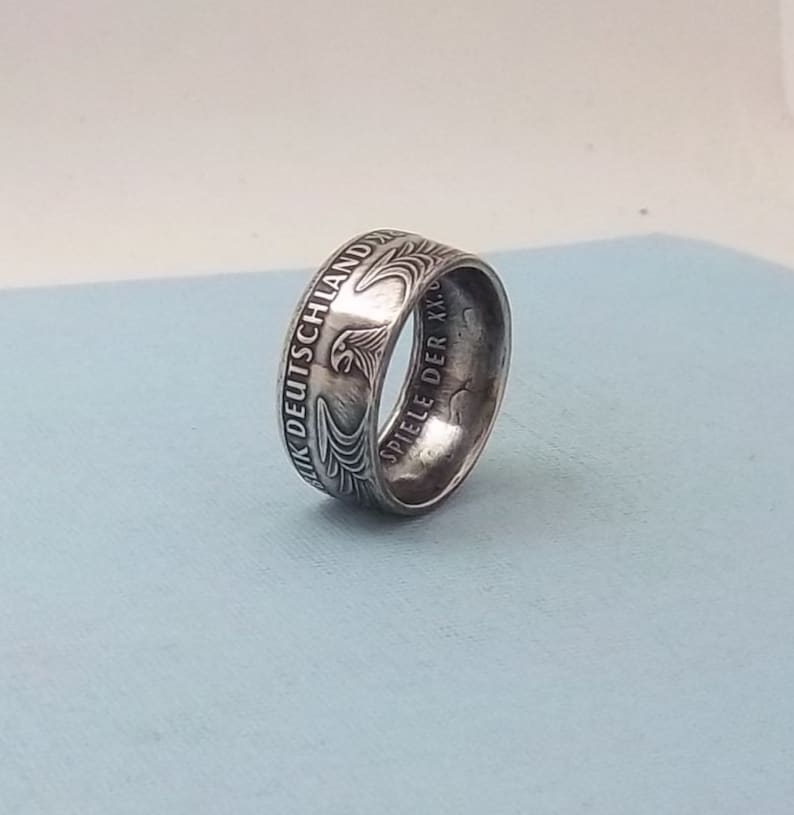 Unique Gift Silver coin ring made from a 1972 German Olympic 10 Mark  62.5/% fine silver jewelry size 10 12