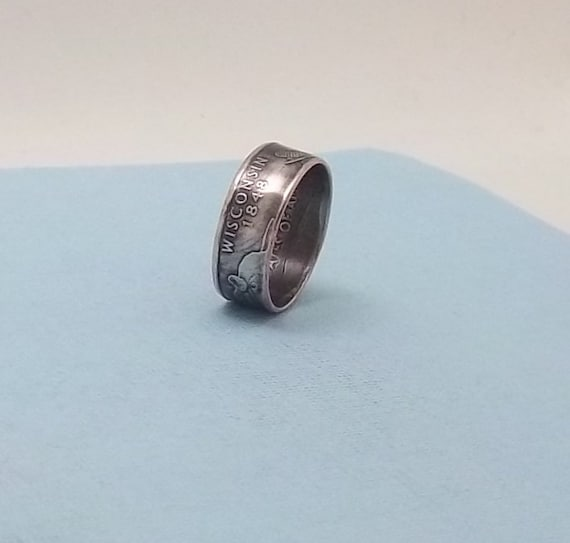 Silver coin ring washington quarter year 1948 size 7 90/% fine silver jewelry