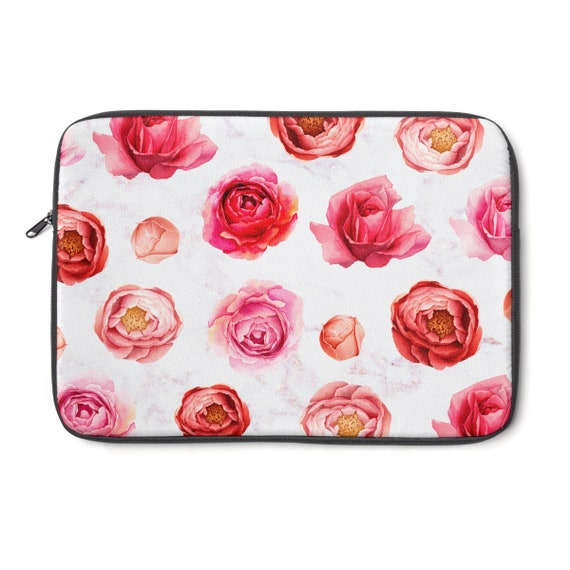 Personalized Watercolor Peonies Laptop Sleeve//Case 13