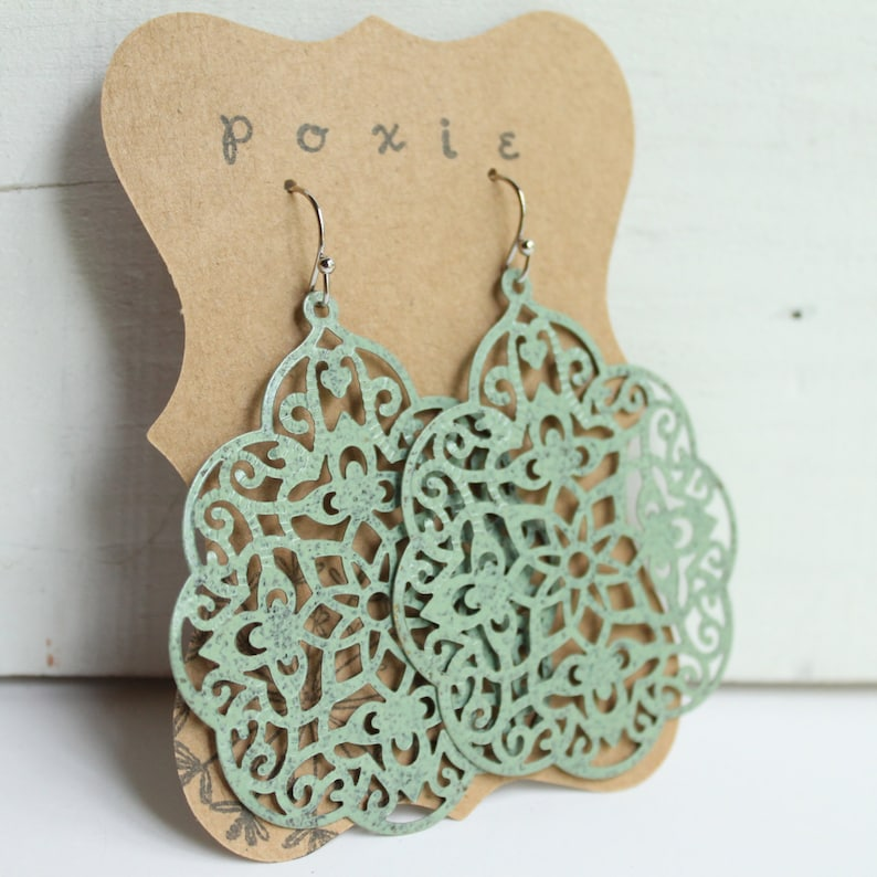 Jewelry for bridesmaids gift rustic earrings Vintage Inspired Lace Filigree Earrings green bridal jewelry lace filigree earrings