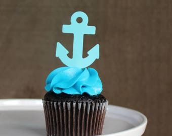 Anchor Cupcake Toppers {Dozen} Ocean Party Decoration, Birthday Party Decor, Baby Shower Theme, Pirate Party, Beach,  58 CARDSTOCK COLORS