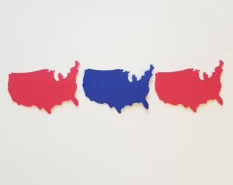 United States Table Confetti {30 pcs} Patriotic Party Decorations, 4th of July Party Decorations, USA Party Theme, 58 CARDSTOCK COLORS