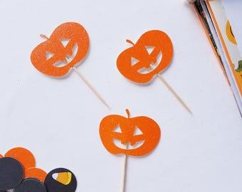 Jack-o-Lantern Cupcake Toppers   Halloween Party Decorations,  Cute Pumpkin Decor,  Halloween Decor