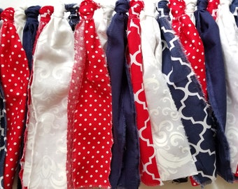 Fabric Banner 7' | Red White & Blue Banner, 4th of July Decorations, Lattice Fabric Banner, July 4th Party Decorations, July 4th Garlands
