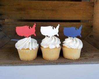 United States Cupcake Toppers {Dozen} Patriotic Party Decor, Republican, Democrat, 4th of July Party, Campaign, 58 CARDSTOCK COLORS