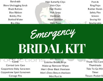 GEGs Emergency Bridal Kit Inventory List Bride Checklist Digital Download Wedding Planning Binder Planner Printable File PDF