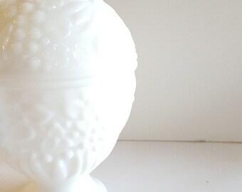 Avon Milk Glass Floral Urn, Etched Floral Design White, Easter, Wedding, Mantel, Candy, Trinket, Holiday