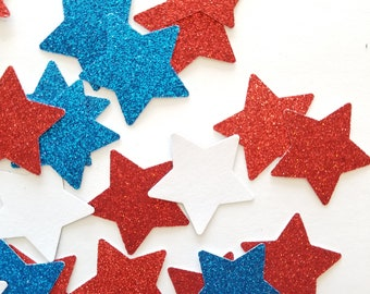 Old Glory Star Confetti {100 pcs} July 4th Glitter Confetti, Patriotic Party, First Birthday Party, July Baby Shower Confetti, Americana