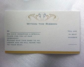 Within the Ribbon Seating Chart Cards   Wedding Planner, Wedding Organizer, Wedding Invitations Inserts, Wedding Planning, Wedding Ceremony