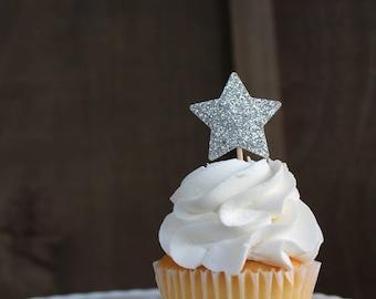Star Cupcake Toppers {Dozen} Party Confetti, Wedding, Graduation, Baby Shower, Birthday Decor, Anniversary Decor, 28 GLITTER COLORS
