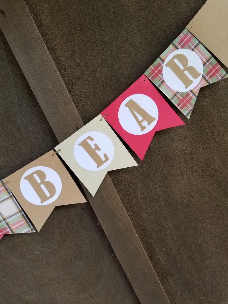 Baby Bear Plaid Banner Wall Hanging Cake Smash Banner Wall Hanging Christmas Decorations Ideas Merry Christmas Banner Camper Decor