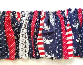 Fabric Banner 7' | Nautical Banner, 4th of July Decorations, Cape Cod Fabric Banner, Anchor Party Decorations, July 4th Garlands, Anchors