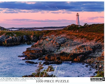 """19.6""""x27.5"""" 1000 piece Cape Breton's Fortress of Louisbourg Lighthouse Jigsaw Puzzle. Nova Scotia gifts, Lighthouse Puzzle"""