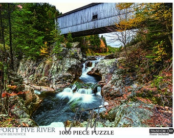 """19.6""""x27.5"""" 1000 piece New Brunswick's Forty Five River Covered Bridge Jigsaw Puzzle. New Brunswick gifts,  Covered Bridge Puzzle"""