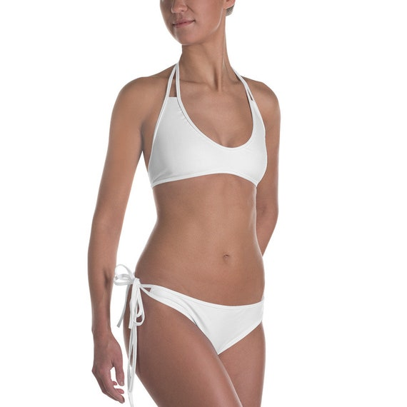 Peachy Swimwear Solid White Bikini Set Etsy