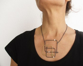 Contemporary Oxidized Silver Necklace - Square Geometric Necklace - Arty Statement Necklace - Asymmetric Pearl Necklace - Artistic Jewelry
