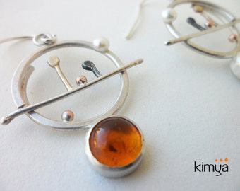 Natural Amber Earrings Artisan Silver Earrings Contemporary Arty Earrings OOAK Unique Unusual Contemporary Jewelry
