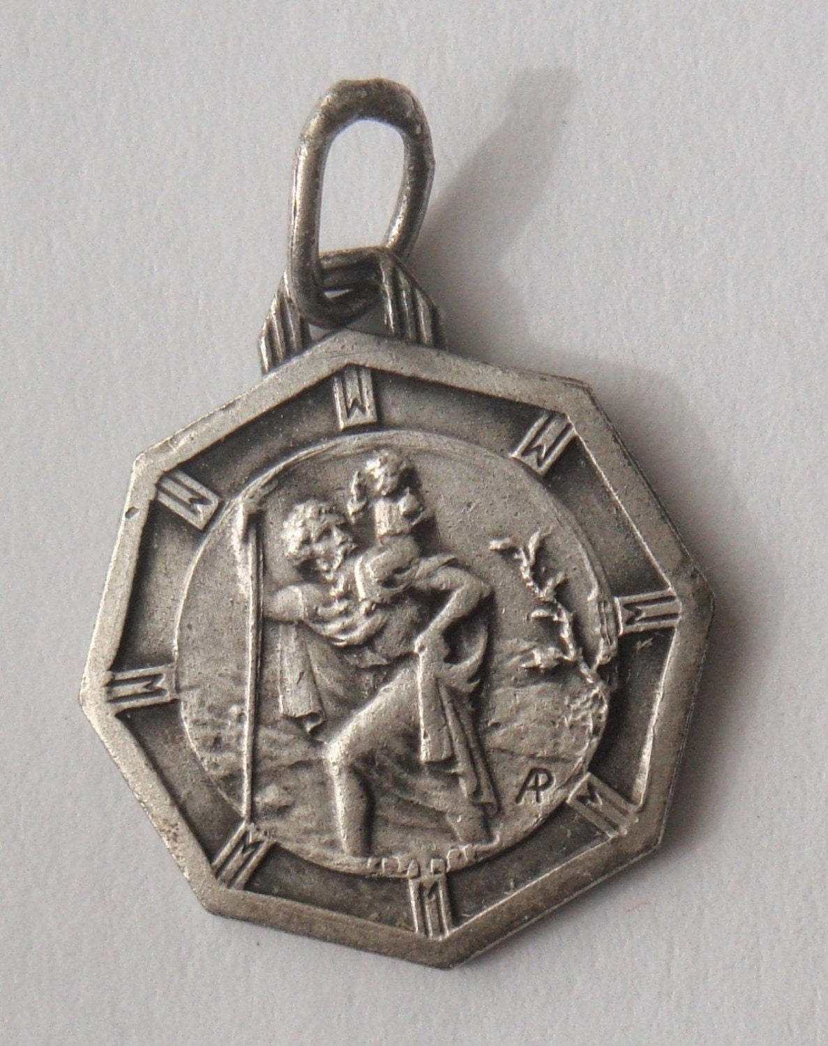 Vintage Sterling Religious Medal Pendant on 18 inch sterling silver rolo chain I an a Catholic Saint Christopher