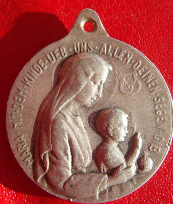 Vintage Scapular Medal with Mary and Jesus by MAUE