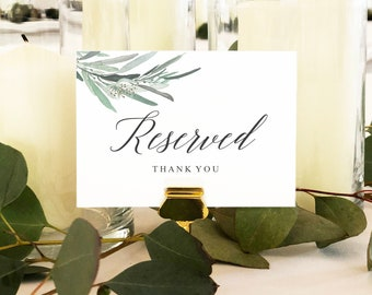 Reserved Thank You Table Sign Card, Table Setting Sign, Reserved Wedding Table Sign, DIY Wedding, PDF, Printable