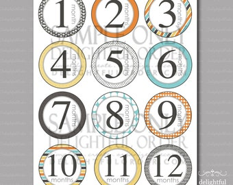 12 Month Photo Banner Tags - PDF Printable File - Instant Digital Download