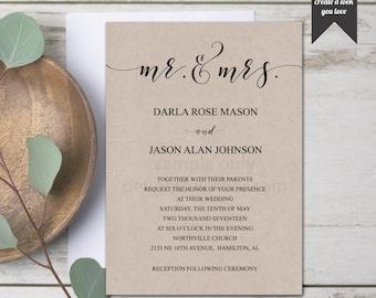 Editable Wedding Invitation, Mr. and Mrs., Printable Template, DIY Wedding Invite, PDF, Instant Download - Editable Printable File