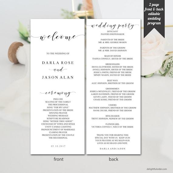 editable wedding program elegant modern design printable etsy