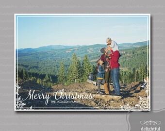 Custom - Photo - Christmas Card - Merry Christmas Photo Card, Holiday Photo Card - (JPEG Digital File) - You Print