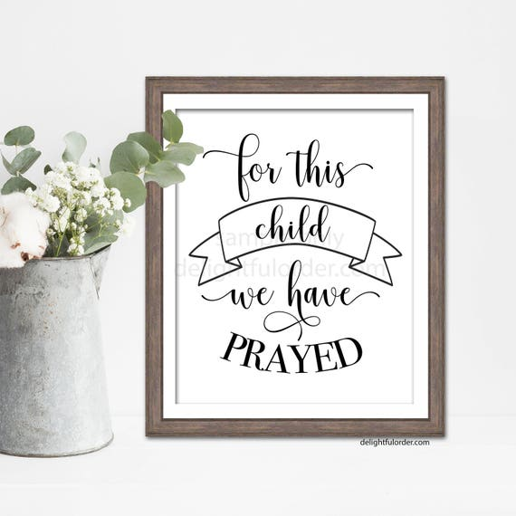 For This Child We Have Prayed Wall Art Sign Decor Nursery | Etsy