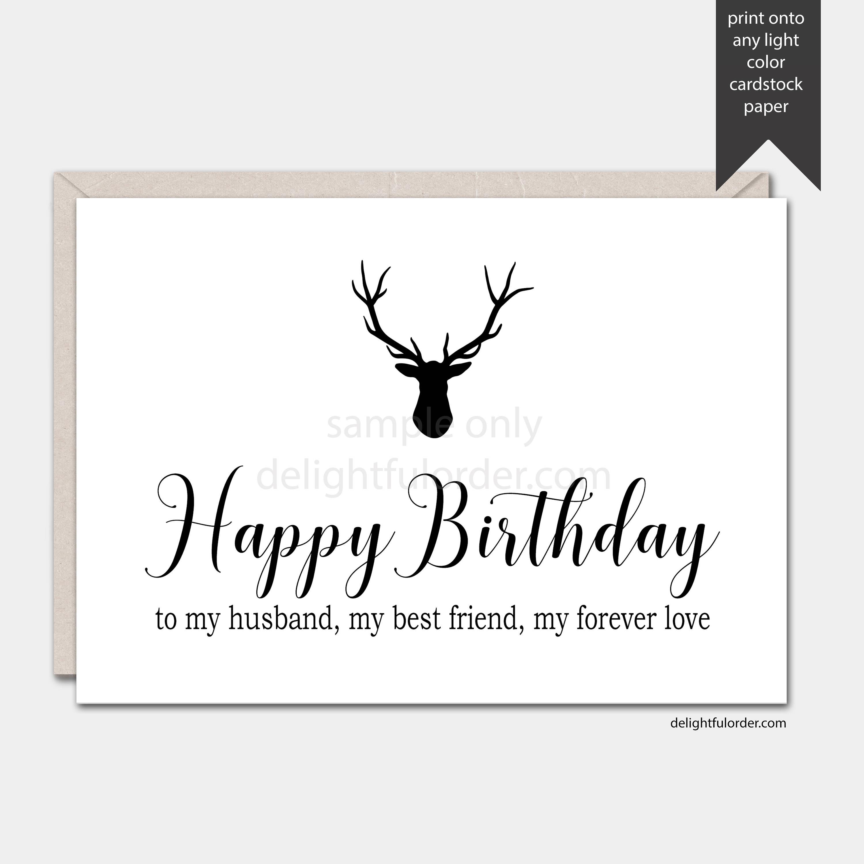 Happy Birthday Husband Printable Greeting Card 5x7 Folded Etsy