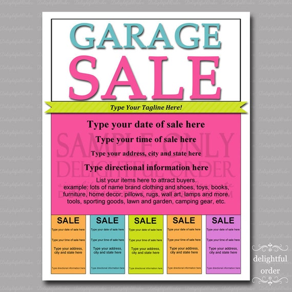 editable and printable garage sale flyer 1 pdf file etsy