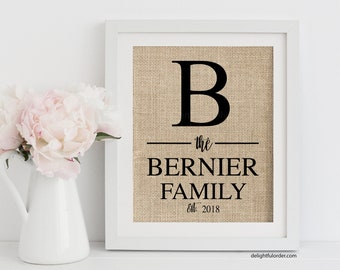 Custom Burlap Print, Canvas Print, Family Name Sign, Monogram Sign, Gallery Wall Decor, Personalized Gift, Realtor Gift, Wedding Gift