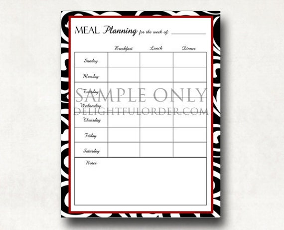 meal planning chart pdf printable file instant digital etsy