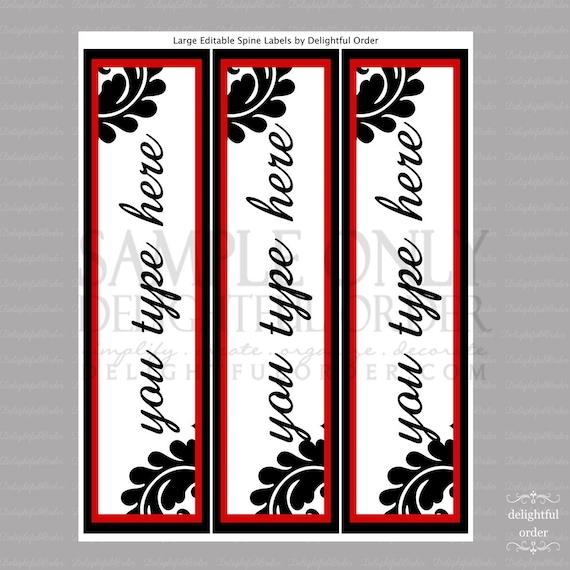 Editable and Printable - Large Spine Labels - Instant Digital Download